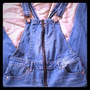 Blue Jean zip up  overalls